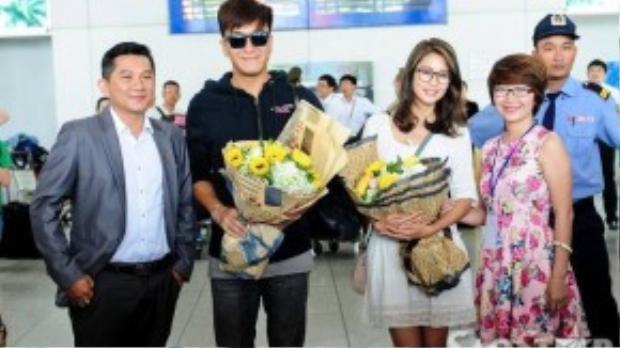 Mã Quốc Minh và Sầm Lệ Hương tại sân bay Tân Sơn Nhất (TP HCM).