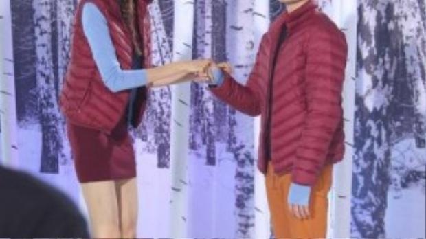Quang Hùng cảm thấy thích thú khi diễn cùng thí sinh có chiều cao nổi bật 1m9 Hồng Xuân.