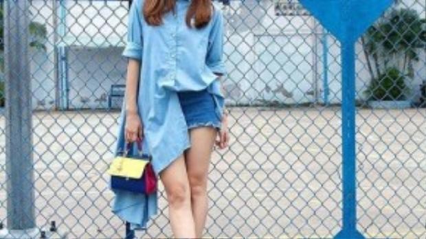 Minh Hằng cũng từng là một tín đồ của xu hướng thời trang này với nhiều kiểu dáng váy sơ mi khác nhau.