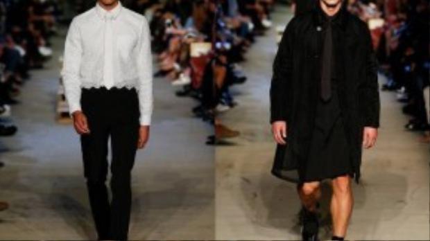 Bên cạnh những bộ vest quen thuộc là sự xuất hiện của quần short, váy, sơ mi pha ren hay áo khoác voan trong suốt.