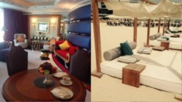 Phòng của Becky (bên trái) có khu phòng khách tiện nghi, thoải mái. Đồ ăn như hoa quả, bánh… được đưa tới phòng vài tiếng một lần. Du khách gần như không cần phải rời khỏi đây, trừ khi để thư giãn trên bãi biển riêng của khách sạn.