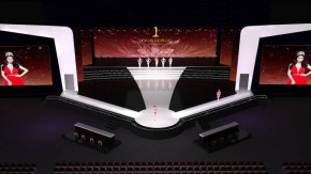 Sân khấu Giấc mơ Hồng Hạc cách điệu với hai cánh hồng hạc vươn dài ra, các người đẹp bước ra từ hậu trường, kiêu hãnh tỏa sắc và trình diễn các phần thi của mình.