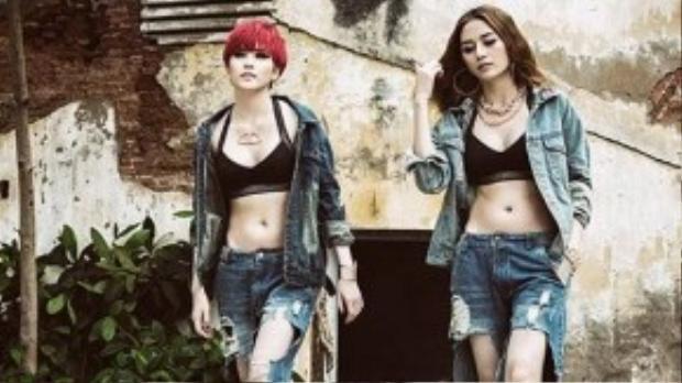 Tháng 6 vừa rồi, nhóm nhạc Bee.T gồm hai chị em Thiều Bảo Trang và Thiều Bảo Trâm tung ra MV Buông tay với phong cách nổi loạn. Với nội dung đề cao nữ quyền, trang phục chủ đạo của MV là jeans rách kết hợp với áo sport bra mang đến vẻ khỏe khoắn, nổi loạn cho hai cô gái.