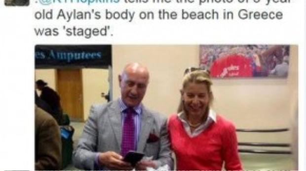 """""""Katie Hopkins nói với tôi rằng bức ảnh chụp xác Aylan 3 tuổi trên bờ biển đã bị dàn dựng""""."""