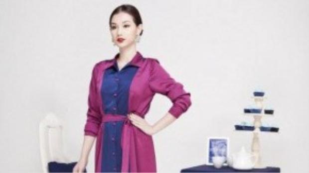 Quỳnh Chi cũng khéo léo trong việc kết hợp các màu sắc, mang đậm xu hướng thu đông 2015.