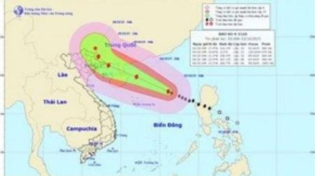 Dự báo đường đi và khu vực ảnh hưởng của bão cơn bão số 4. Ảnh: Trung tâm Dự báo khí tượng thủy văn TƯ.