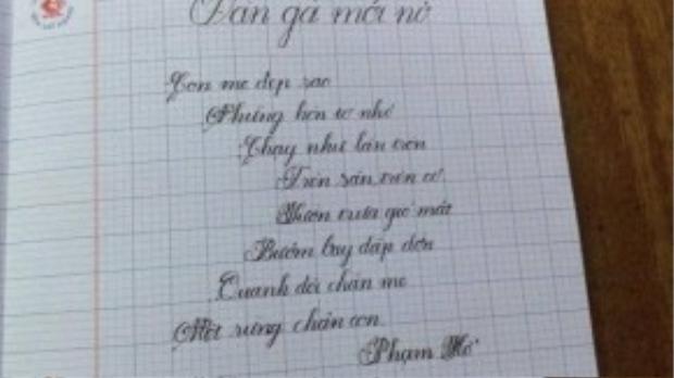 Nét chữ của Hồng Minh.