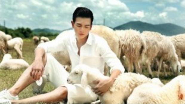 Trong bộ ảnh mới lần này, chàng thơ của Đỗ Mạnh Cường hóa thân thành cậu bé vui đùa cùng những chú cừu trên cánh đồng cỏ rộng lớn mênh mông.
