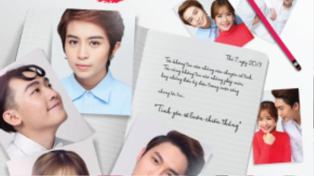 Poster được thiết kế theo lối giản đơn với những tấm ảnh chồng lên nhau như một bức thư tình.