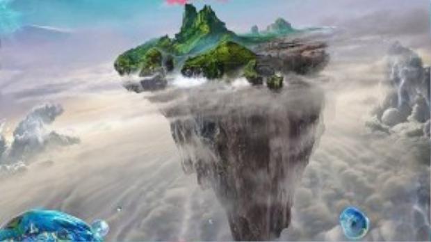Những hòn đảo lơ lửng trong Pan. (Ảnh: Warner Bros)