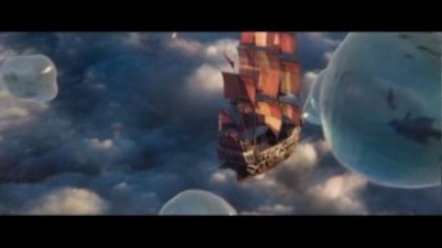 Có rất nhiều cảnh quay xuất hiện chiếc tàu bay này trong phim. (Ảnh chụp từ clip)