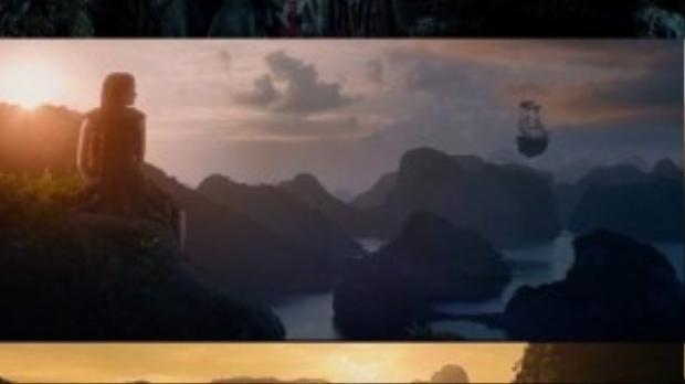 Hình ảnh hang Én, vịnh Hạ Long, Tràng An xuất hiện trong phim. (Ảnh chụp từ clip)