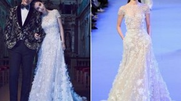 Không khó để nhận ra chiếc váy cưới của Angela Baby là một mẫu thiết kế nằm trong bộ sưu tập Haute Couture Xuân Hè 2014 của thương hiệu thời trang cao cấp Elie Saab. Các thiết kế của dòng Haute Couture đều có giá cao ngất ngưởng, khoảng 600 triệu đồng/bộ. Với những chi tiết đính hoa 3D nổi bật tinh tế, bộ trang phục đã khiến Angela Baby yêu kiều như một nàng công chúa.