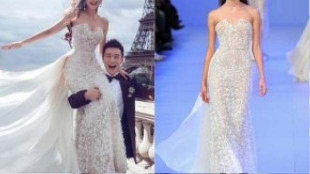 Trong chiếc váy cưới thứ hai, người đẹp Hoa ngữ nổi bật với thiết kế ôm sát cơ thể cùng tà váy dài thướt tha. Kiểu váy quây được cắt xẻ nhấn nhá ở ngực đã tạo nên vẻ đẹp quyến rũ của Angela Baby.