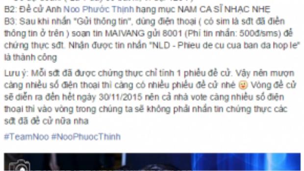 Các fan Noo Phước Thịnh mô tả chi tiết cách bình chọn trên facebook để các bạn không nhầm lẫn và làm sai bước.