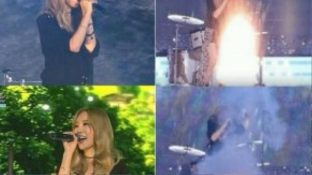 Taeyeon giật mình vì pháo hoa bắn khi đang biểu diễn hôm 9/10.