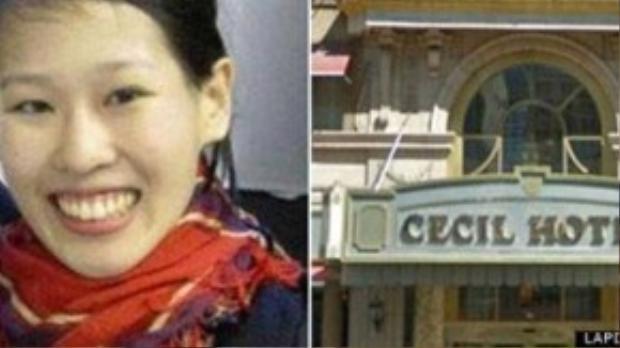 Elisa Lam (trái) đã lựa chọn khách sạn Cecil Hotel ở Los Angeles (phải) làm nơi nghỉ chân