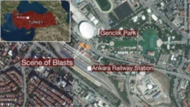 Vị trí nổ bom là một nhà ga trung tâm thủ đô Ankara.