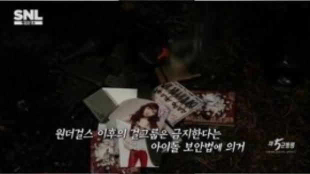 Phân đoạn đốt ảnh và album của SNSD trong Saturday Night Live Hàn Quốc hôm 10/10.