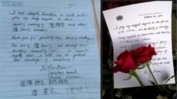 Bên phải là một bút tích khác của ông Ban Ki-moon để so sánh với lưu bút ở nhà thờ họ Phan Huy.
