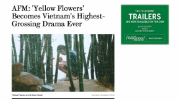 Trang Hollywood Reporter đưa tin về Yellow Flowers, tên tiếng Anh của bộ phim.