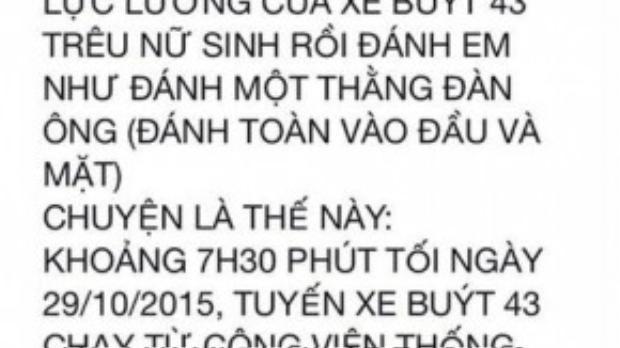 Đoạn status tố cáo hành vi côn đồ của nhân viên bán vé trên xe buýt Bắc Hà.