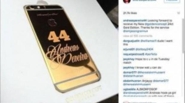 Chiếc điện thoại dát vàng có khắc số áo cầu thủ MU - nguyên nhân gây sự tức giận fan Quỷ đỏ dành cho anh.