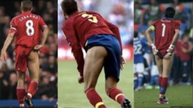 Gerrrard, Pique và Buffon cũng không ngoại lệ khi thi đấu quá nhiệt tình đến nỗi lộ mông.