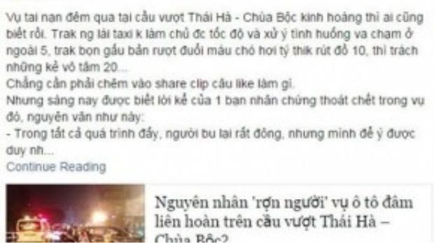 Bài viết của Tr.H.Tr. trên Facebook - Ảnh chụp màn hình.