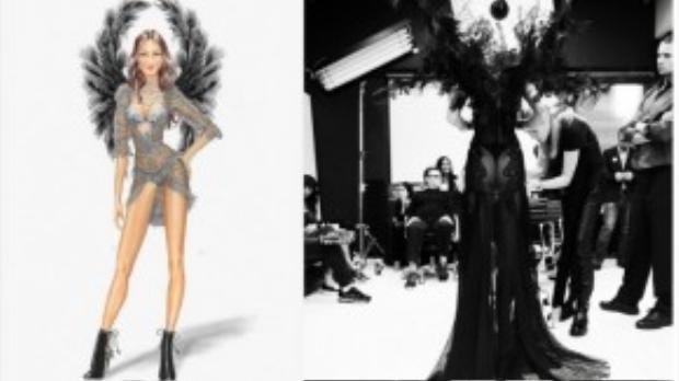 Tuy chụp từ đằng sau nhưng ai cũng có thể dễ dàng cảm nhận được độ lôi cuốn, hấp dẫn và kì công của thiết kế Thiên thần bóng đêm mà Candice Swanepoel đang mặc trên mình.
