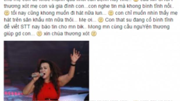 Đan Trang cũng mong mọi người cầu nguyện cho mẹ của mình.