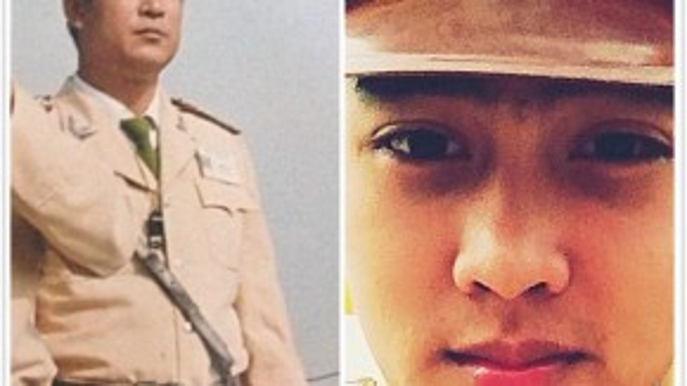 Không chỉ là đam mê, Bá Nam đến với nghề cảnh sát vì muốn tiếp nối truyền thống gia đình. Người bên trái bức ảnh là cha của Nam, cũng là cảnh sát.