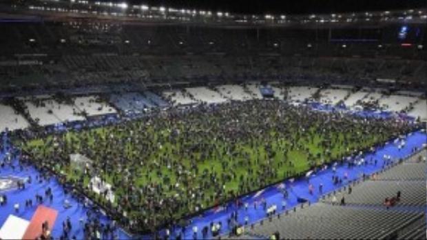 Người hâm mộ bóng đá được sơ tán xuống giữa lòng sân để giữ an toàn