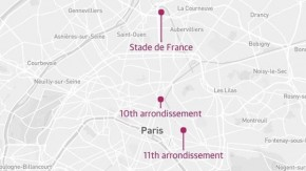3 địa điểm bị tấn công khủng bố.