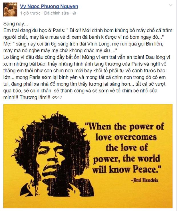 Sao Việt đồng loạt cầu nguyện và lo lắng cho người thân tại Paris