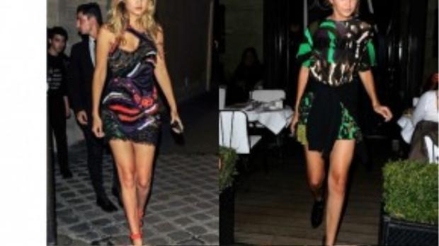 Khi lại nổi bật với bodycon in họa tiết hoặc đính nạm cầu kì, lạ mắt. Trong hình là hai mẫu thiết kế mới nhất của thương hiệu Versace mà Gigi yêu thích.