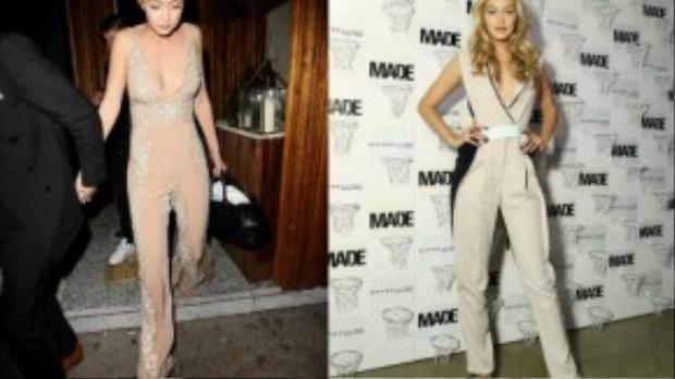 Gigi Hadid gợi cảm với hai thiết kế jumpsuit màu nude phần ngực xẻ sâu. Chất liệu pha ren trắng hay đính đá tạo điểm nhấn cho set đồ đơn sắc thêm hút mắt người nhìn.