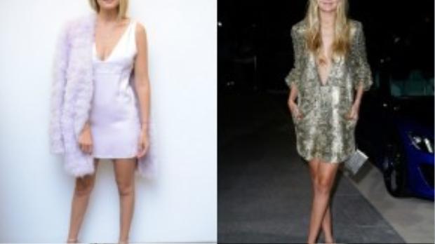 Hai chiếc váy xuông ấn tượng khác của Gigi Hadid. Cô khéo léo khi kết hợp cùng áo lông tạo vẻ sang trọng và chất liệu được mạ kim loại lấp lánh, tỏa sáng khi đến bất cứ đâu.