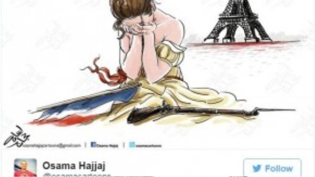Osama Hajjaj, một họa sĩ người Jordan đã mô tả nước Pháp như một người phụ nữ đẹp đang ôm mặt ngồi khóc trước tháp Eiffel.