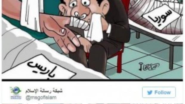 """Một họa sĩ Hồi giáo khác lại mượn những nét vẽ để châm biếm sự """"ân cần"""" thái quá của châu Âu và thế giới dành cho nước Pháp trong khi các quốc gia khác cũng là nạn nhân của chủ nghĩa khủng bố như Lebanon, Iraqhay Syria lại không được quan tâm đến."""