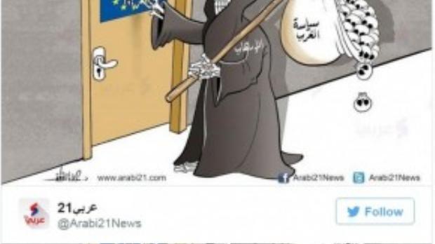 """Bức tranh đăng tải trên trang Arab21 ngụ ý các chính sách mở cửa của Liên minh châu Âu đã quay lại """"ám ảnh"""" chính họ."""