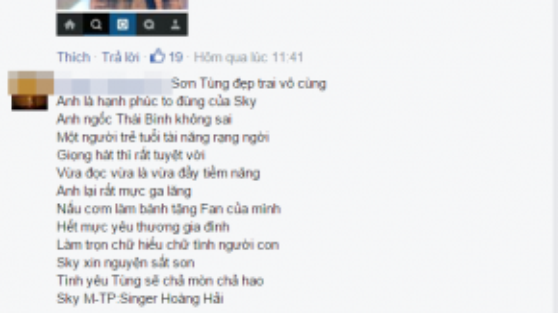 Bài thơ dành tặng Sơn Tùng nhận được nhiều sự quan tâm của cư dân mạng.