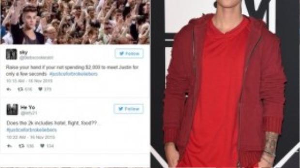 Fan phẫn nộ vì cho rằng vé giao lưu với Justin Bieber quá đắt đỏ.