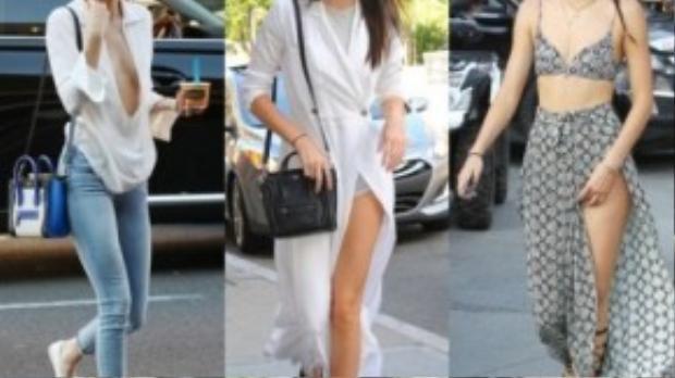 Váy xe đùi và quần jean là hai món đồ không thể thiếu trong tủ đồ của Kendall.