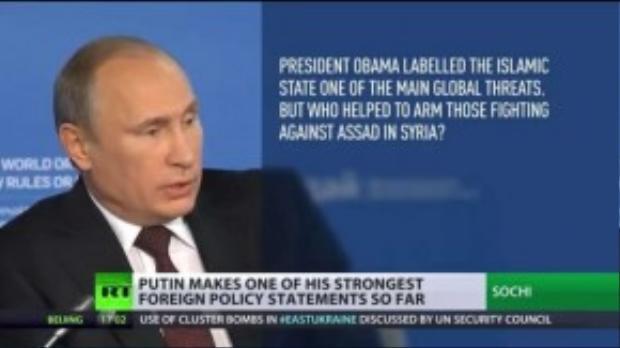 """Ông cũng không ngần ngại đụng chạm Nhà Trắng khi thẳng thắn đặt vấn đề: """"Tổng thống Obama cho rằng Nhà nước Hồi giáo là một trong những mối đe dọa lớn nhất hành tinh. Nhưng ai đã cung cấp vu khí cho chúng lật đổ chính quyền Assad ở Syria thế nhỉ?"""""""