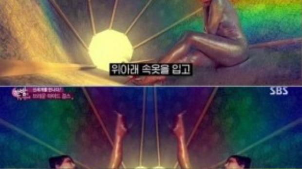 Cảnh quay Ga In chỉ mặc nội y, đắp silicon và trát bột ngọc trai lên người trong MV.