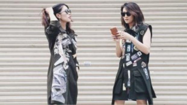 Biên tập viên thời trang Trần Hà Mi và Nguyễn Phương Anh gây ấn tượng với lối mix đồ chất lừ khi sử dụng thiết kế này để giấu quần như một chiếc váy nếu thoạt nhìn qua.