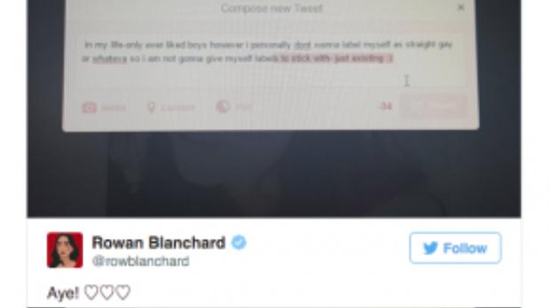 Chia sẻ về giới tính của Rowan Blanchard qua mạng xã hội Twitter.