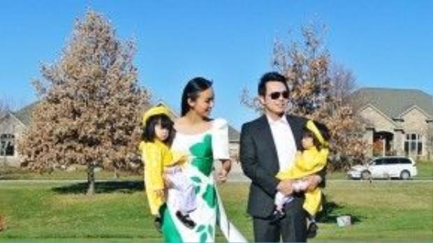 Huyền Ny và gia đình nhỏ đón Tết sớm tại Mỹ.