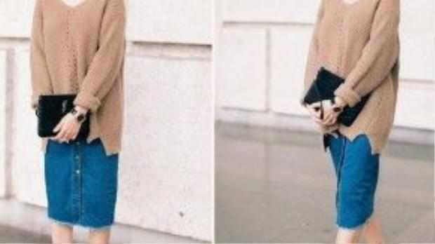 Nữ ca sĩ Lưu Hương Giang xuống phố với phong cách mang dấu ấn đặc trưng những năm 70s, áo len oversize, chân váy denim cài cúc, giày đế thô sành điệu. Chỉ là những item với màu sắc cơ bản như nâu, đen và xanh blue nhưng khi phối hợp thì tổng thể trở nên hòa hợp, khiến mọi người đều phải hướng về cô nàng.